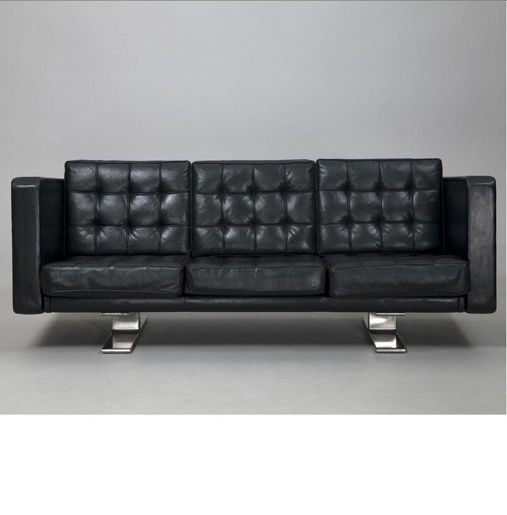 Antti Nurmesniemi; Leather and Steel Sofa for Artek, 1950s.