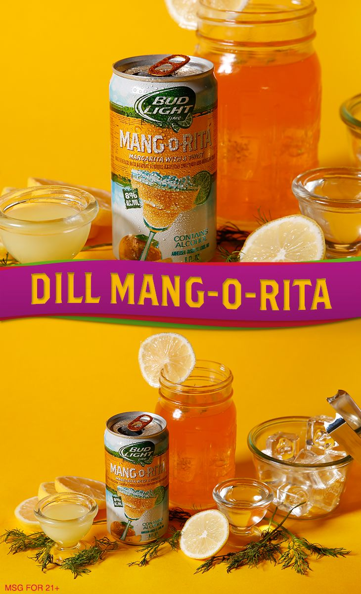 A little dill and a lot of mango go a long way in this Polynesian favorite.   Ingredients:  4-6 oz Mang-O-Rita .75 oz Lemon Juice .5 oz Simple Syrup 3 Dill Sprigs  Garnish: Dill Sprig  Directions: 1. Combine lemon juice, dill and simple syrup into a shaker with ice and seal. 2. Shake vigorously until chilled, add Mang-O-Rita and strain (without reshaking) into glass. 3. Garnish and serve.