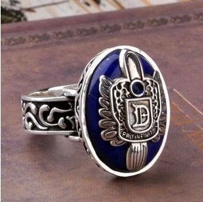 JZ102 The Vampire Diaries Damon's Ring Vintage Tone with Lapis Stone