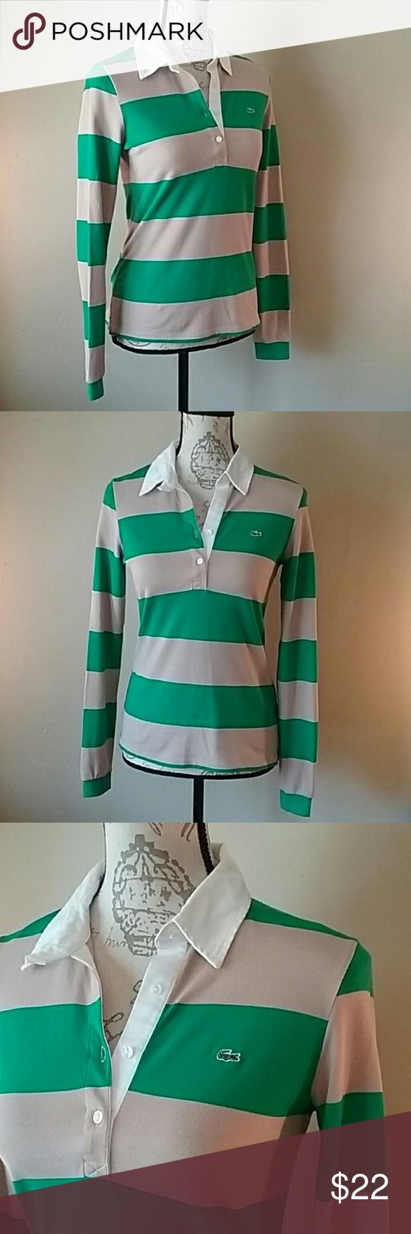 """NWOT Lacoste long-slv polo in the latest colors Perfect... The grass green is the """"it"""" color. Lacoste is pricy, unless you find it at an outlet store or something.  35 inch bust and 23 inches tall. Washable. Lacoste Tops"""