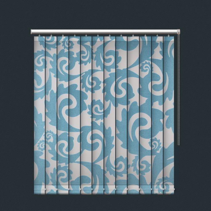 Blue White Swirling Leaves Pattern Vertical Blind