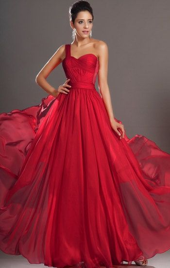 Red prom dress one shoulder long chiffon prom by PromQueenDress, $130.00