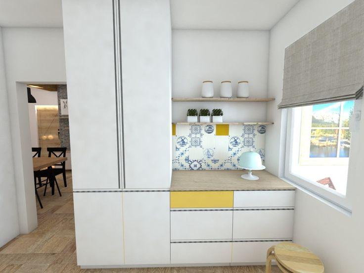 Malá kuchyňa v byte s folklórnym motívom