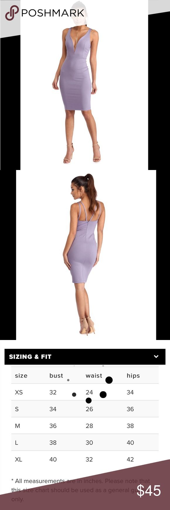 """Purple Plunge Dress going out dress size small! Good midi length, thick stretchy material.  30"""" inseam from armpit to bottom. New with tags! Dresses Midi"""