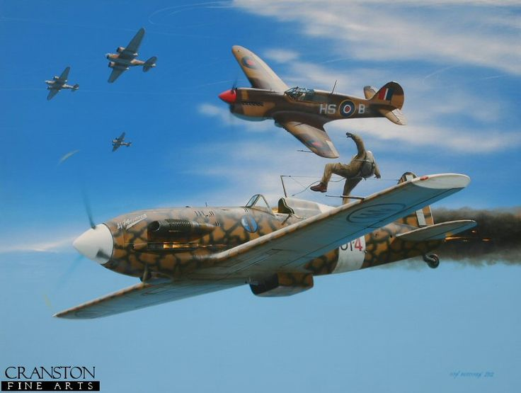 Tribute to Wing Commander James 'Stocky' Edwards by Ivan Berryman. Having joined the RAF at the age of 19, James Francis Edwards was to end the war with a total of 20 confirmed kills and another 10 probables and was one of Canada's greatest aces. He is depicted here in his Curtiss P.40, dispatching a Macchi MC.202 whilst defending Boston and Baltimore bombers on their way to attack the airfields of Daba on 19th October 1942.