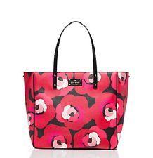 NWT Kate Spade Ellison Avenue Sidney Leather Tote Handbag Deco Rose Orient Red