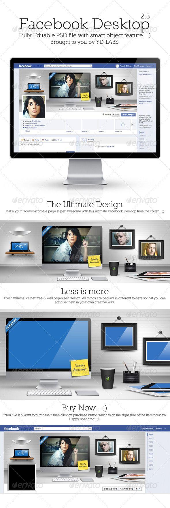 FB Desktop, Facebook Timeline Cover $3 Only
