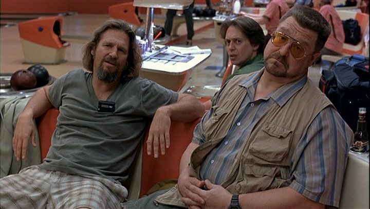 "Joel and Ethan Coen's ""The Big Lebowski"" - Jeff Bridges as The Dude,  John Goodman as Walter and Steve Buscemi as Donny."