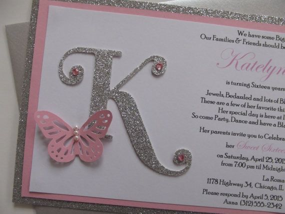Best 25 sweet 16 invitations ideas on pinterest pink butterfly sweet 16 invitation glitter by whimsycreationsbyann solutioingenieria Image collections