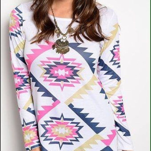 White Aztec long sleeve top Brand new boutique long sleeve white top w/ pink/navy/gold Aztec print. 95% Rayon 5% Spandex. S,M,L available Tops
