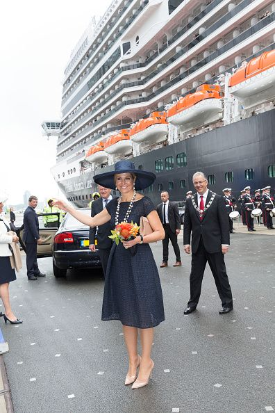 Queen Maxima of The Netherlands poses after baptizing the cruise ship MS Koningsdam on May 20 2016 in Rotterdam Netherlands.