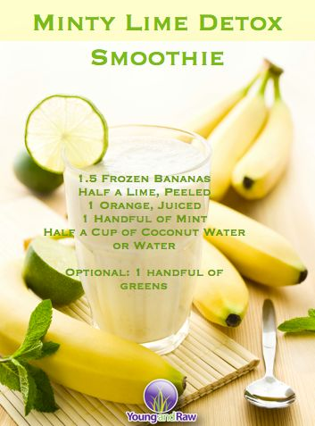 Natural Cures Not Medicine: Minty Lime Detox Smoothie Check out this great smoothie recipe: 1.5 Frozen bananas Half a lime peeled 1 orange - juiced 1 handful of mint Half a cup of coconut water or water