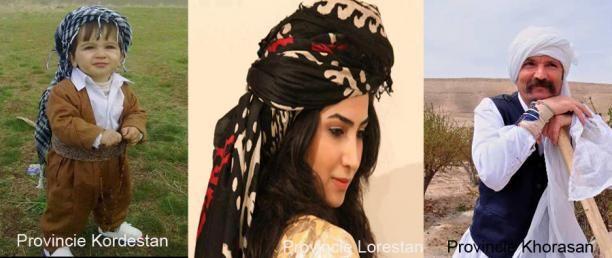 Verschillende tulbanden uit de provincies Kordestan, Khorasan en Lorestan in Iran.