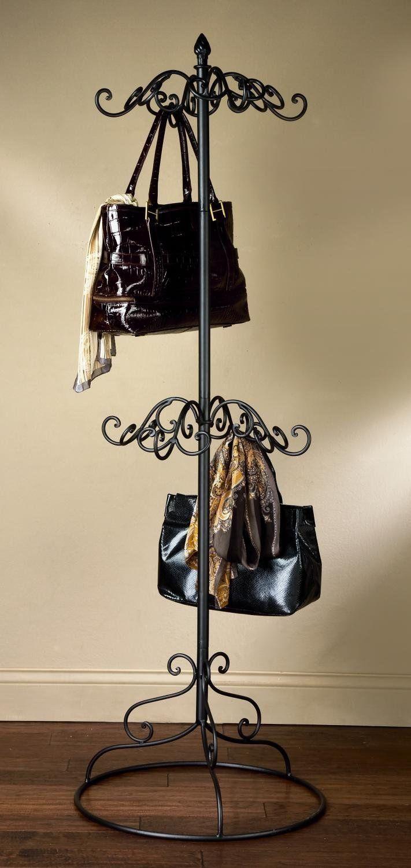 Amazon.com - 2 Nivel Negro metal monedero bufanda visualización del bastidor del árbol -