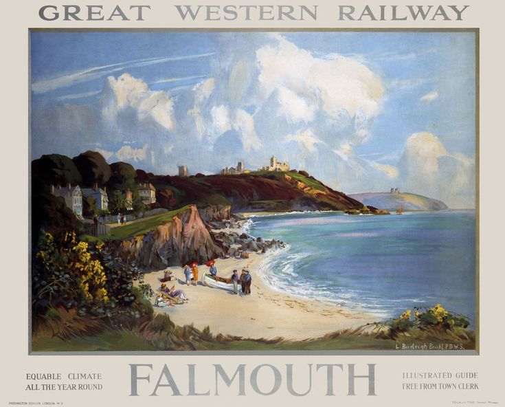 Falmouth  The Fal Estuary, extending all the way to Truro, is said to be the third largest natural Harbour in the World . This 1927 GWR Poster was one of the  only two of the estuary ever produced  Artwork by Louis Burleigh Bruhl ( 1862 – 1942 ).17