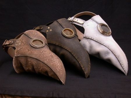 A plague doctor was a special physician who saw those who had the Bubonic Plague. In the seventeenth and eighteenth centuries, some doctors wore a beak-like mask which was filled with aromatic items. The masks were designed to protect them from putrid air, which (according to the miasmatic theory of disease) was seen as the cause of infection. The protective suit consisted of a heavy fabric overcoat that was waxed. A wooden cane pointer was used to help examine the patient without touching