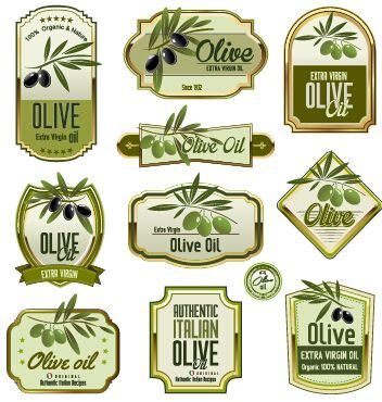 Green-olive-oil-labels-set-