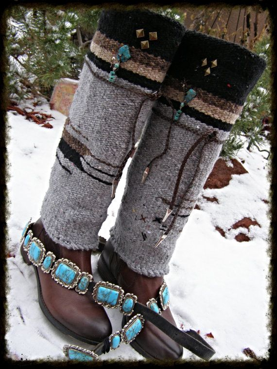 Hippie Tribal Mexican Native Blanket Boot Covers Leg by TribalZen, $69.99