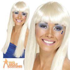 Dancing Queen Wig 70s Disco Abba Long Blonde Super Trooper Womens Ladies New