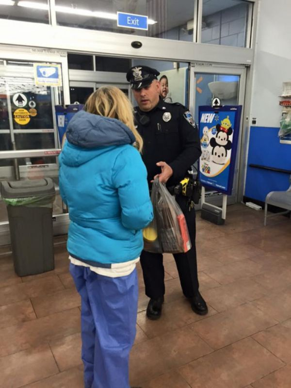 After coming to the aid of a woman who fainted in Walmart tonight, Officer Keith Perry of Seekonk Police Department in Massachusetts discovered that the woman was homeless and hadn't eaten in quite some time. He then took it upon himself to buy her some groceries and helped her get to a hotel room to ride out the snow storm.