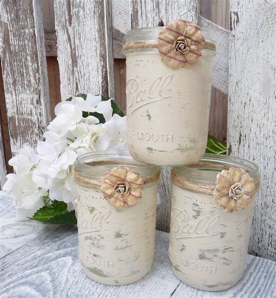 Shabby Chic Country Upcycled Mason Jar Candle Holders, Vases, Centerpieces…