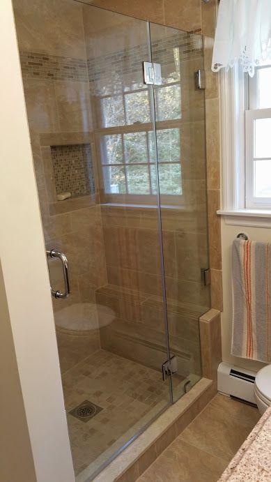 127 best frameless shower doors swinging hinged images for Knee wall support