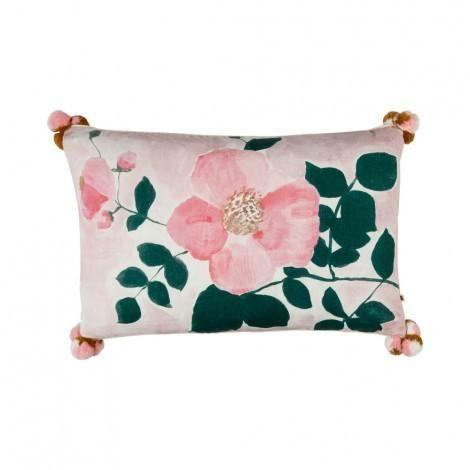 Tea Rose Pink Cushion | 75x45cm | Bonnie & Neil – Salt Living or online at www.saltliving.com.ay #saltliving #bonnieandneil #screenprinting #linen #handmade #cushion