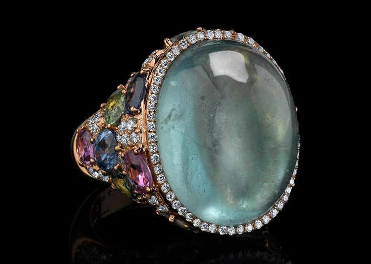 Hubert aquamarine and colored gemstone ring