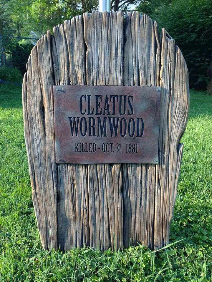 static my newest tombstone faux wood wfaux metal plate by halloween forum member - Funny Halloween Tombstones