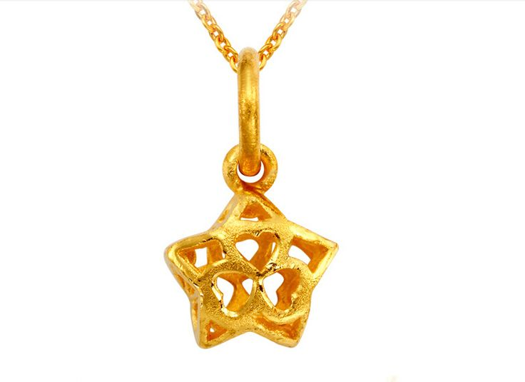 Pure 24K Solid 999 Yellow Gold Pendant / Hollow Flower Pendant / 0.66g