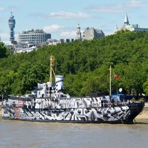 """Tobias Rehberger covers HMS President  in """"dazzle camouflage"""""""