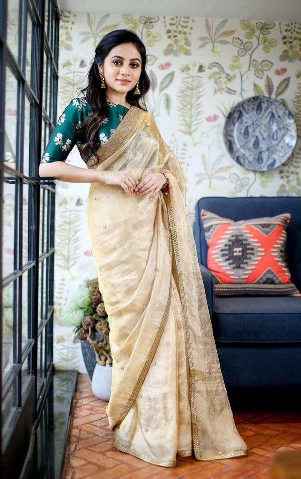 a410874474dbe Gold Tissue Saree With Hand Embroidered!! only saree not blouse Estimation  for Shipping- 20 days For bookings - +91 85310 67748Email ...