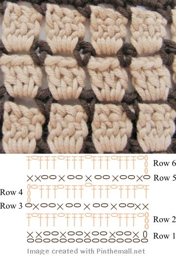 #Crochet #Stitches - a neat 2-color stitch with chart. You could add more colors to make this a complex multi-color stitch, or use a variegated yarn for either the cream or brown part of the stitch for a beautiful effect. Full instructions at http://bynumber19.com/2012/06/02/business-card-holder-crochet/ ✿Teresa Restegui http://www.pinterest.com/teretegui/✿