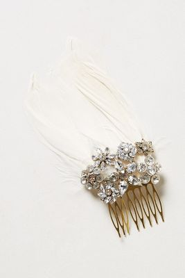 feather crystal hair comb