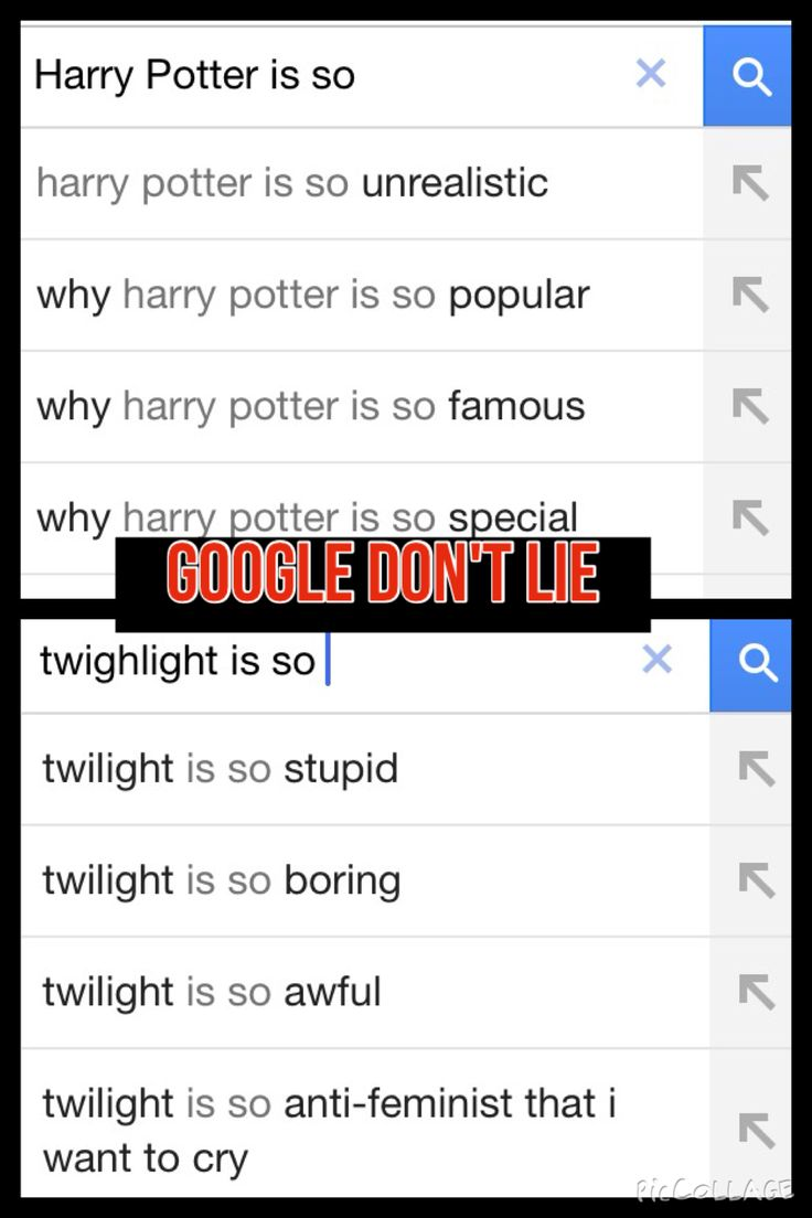 Harry Potter vs twilight on google see the difference??