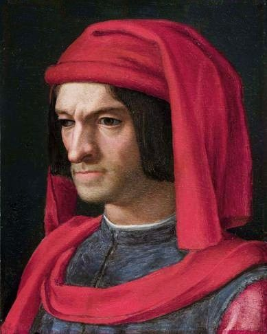 Lorenzo de' Medici, aka Lorenzo the Magnificent, his full name was Lorenzo di Piero de' Medici (1449-1492). Lorenzo, by creed a deist, had regarded the Church merely as a source for his son of lucrative emoluments, and dignities which might be crowned with the tiara.