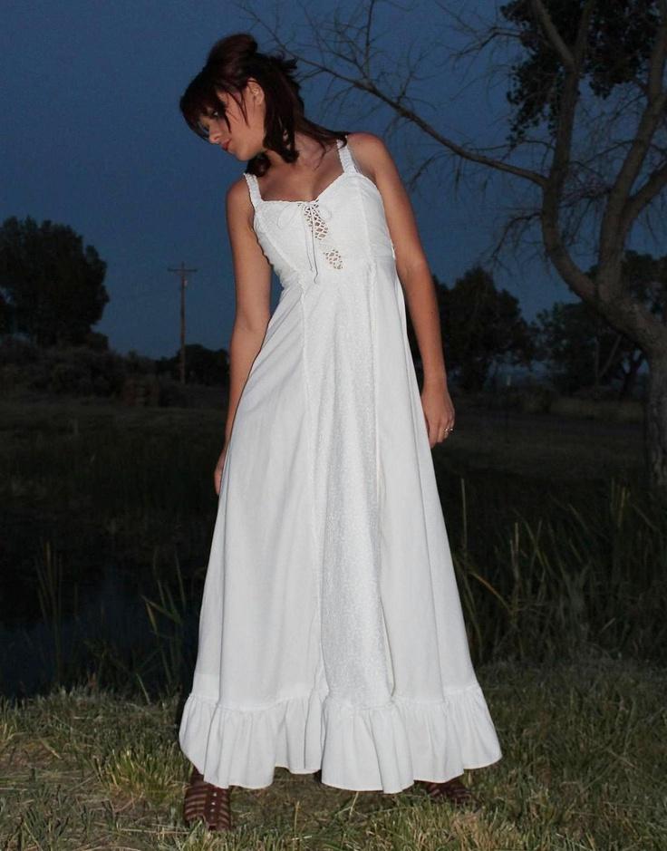 70s Maxi Dress Wedding Corset Gunne Sax White Lace