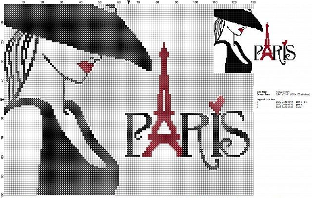 0 point de croix femme et paris - cross stitch paris and girl