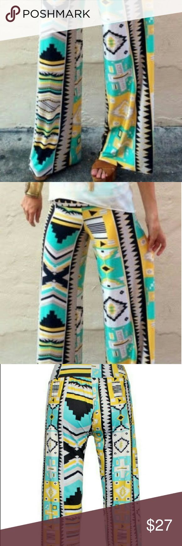 Palazzo Pants GOod EveNing Clothing💖💖💋💋💖 These Palazzo Pants will help you dazzle any Pharoah! This signature print is exclusively made for women's fashion. Made from a Polyester and Spandex blend.This is one of our best prints and can be worn with a boho top or a crisp button down white shirt and a nice pair of platforms.They are dressy enough for dinner out or a casual day on the beach. Fits women's 0 to 7. Material does stretch. Pants Wide Leg