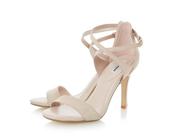 Channel classic elegance with this cross strap high heel sandal. It features contrasting panels and a closed back with buckle fastening. This style would perfectly suit a floaty silk dress or cropped trousers.