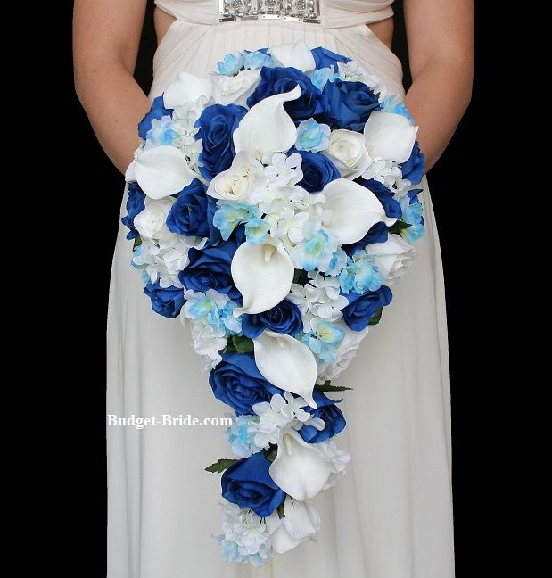 Royal Blue Wedding Flower Package cascading teardrop bouquet with royal blue roses, white hydrangea, light blue delphinium and calla lilies