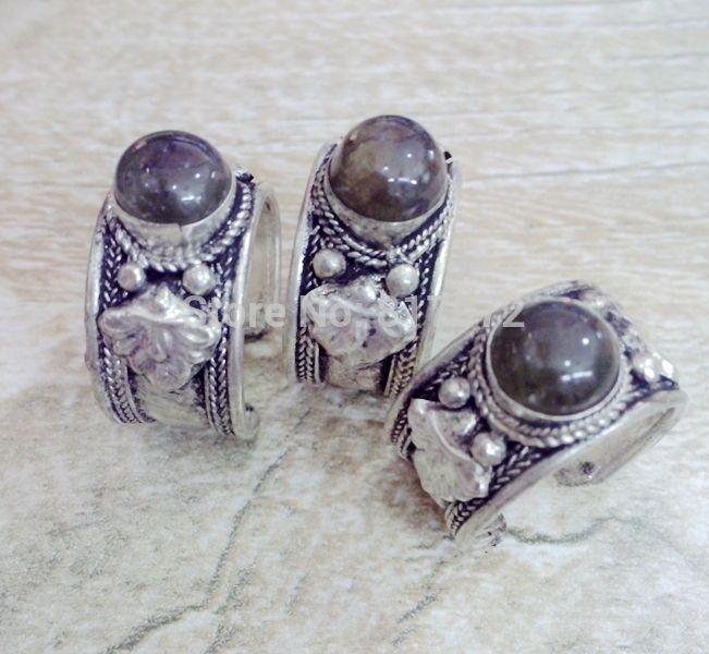 10 шт. ретро стиль тибет серебро резные кружевной декор черный камень кольцо регулируемый как для женщин и мужчин