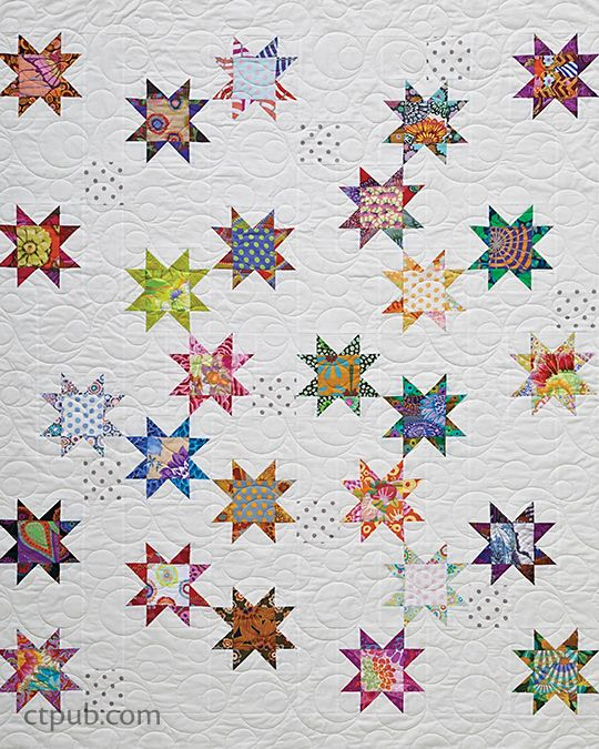 "We're so excited to share another free project with you! This one is called Seeing Stars, by Alex Anderson, and is from Make Star Quilts.  FINISHED QUILT: 48 1/2˝ × 54 1/2˝ FINISHED BLOCK: 6˝ × 6˝ TOTAL NUMBEROF STAR BLOCKS: 27 I love Star quilts, so I guess it's no surprise that I would include one in this book. I decided to emphasize the star motif by making the star points darker than the star centers (or ""bellies"") and—taking my cue from modern quil..."