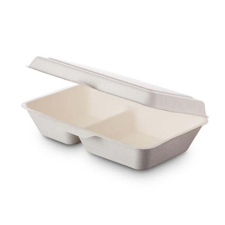 Contenitore asporto biodegradabile a 2 scomparti- misure 15,5x24x8cm - capienza 1000mlQuesto contenitore da asporto è realizzato in polpa di cellulosa pressata, un materiale rinnovabile ricavato dalla canna da zucchero. E'biodegradabile e compostabile secondo le direttive europee EN13432,afine pasto infatti lo puoi gettare nel rifiuto organico assieme agli eventuali avanzi di cibo.E'un'alternativa sostenibile ai classici contenitori solitamente realizzati in polistirolo o altri materiali…