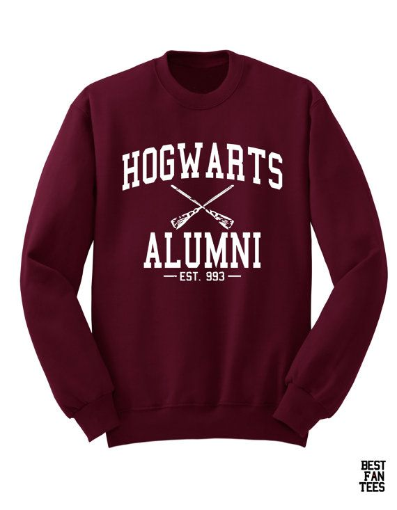 Hogwarts Alumni in White Font on a Maroon Unisex Sweatshirt Sweater| Harry Potter Clothing