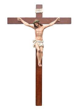 altezza Cristo cm. 105 in vetroresina croce di legno cm. 220x120 dipinto con colori acrilici e finiture ad olio  http://www.ovunqueproteggimi.com/collezione-statue/ges%C3%B9/cristo-in-croce/
