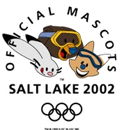 Salt Lake 2002 Winter Olympic Mascots - Citius, Altius, Fortius (Powder, Copper, Coal) legend