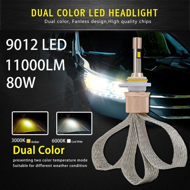 57.22$  Watch here - http://ali856.shopchina.info/go.php?t=32807548379 - 9012 Led Headlights 80w Auto Led Light Dual Color 6000k/3000k Automobiles 11000lm Car Driving Fog Lights Replace Xenon Lamps  57.22$ #magazineonline