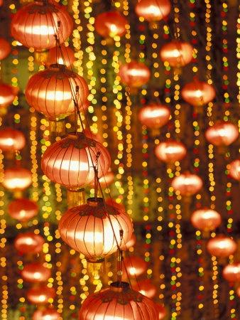 Beijing Hotel Lobby and Red Chinese Lanterns, China