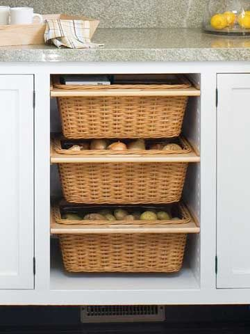 Slide-out Storage  Redoing your kitchen cabinets? Consider adding a couple of slide-out baskets, which are ideal for storing vegetables that don't need to be refrigerated, such as onions and potatoes. If your existing cabinets are staying put, you can add the feature by simply removing a cabinet door and installing the necessary hardware.